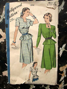 Vtg-SEWING-PATTERN-Hollywood-1940-039-s-1864-BELTED-DRESS-BLOUSE-AND-SKIRT-sz-12