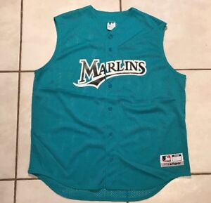 online store 0c556 8a7cd Details about Rare Vintage MAJESTIC Florida Marlins TEAL Sleeveless Mesh  Jersey Men's XL