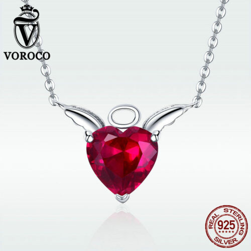 Voroco Red S925 Sterling Silver Angel Wish Pendant Necklace Bangle Chain Jewelry