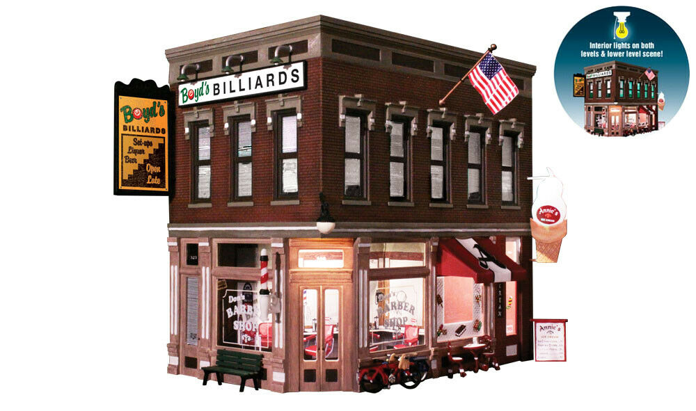 Woodland Scenics BR5844 o-Escala esquina Emporium, Barber, helado, salón de billar
