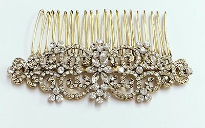 Brioso Semplicemente Bellissimo Stile Vintage Completa Di Cristallo Da Sposa Placcata In Oro Antico Haircomb.-