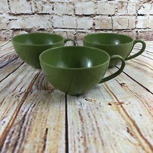 Set-Of-3-Vintage-Melmac-Avocado-Green-Coffee-Tea-Cups