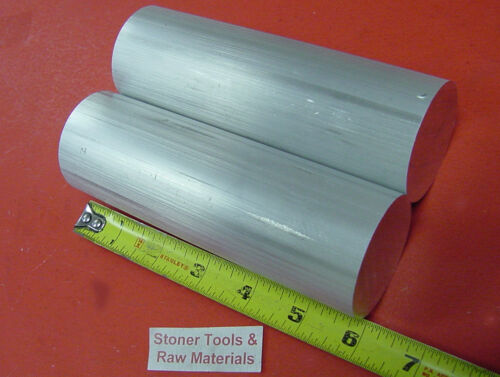 """2 Pieces 1-3//8/"""" 6061 ALUMINUM ROUND ROD 6/"""" LONG T6511 1.375/"""" Solid BAR STOCK NEW"""