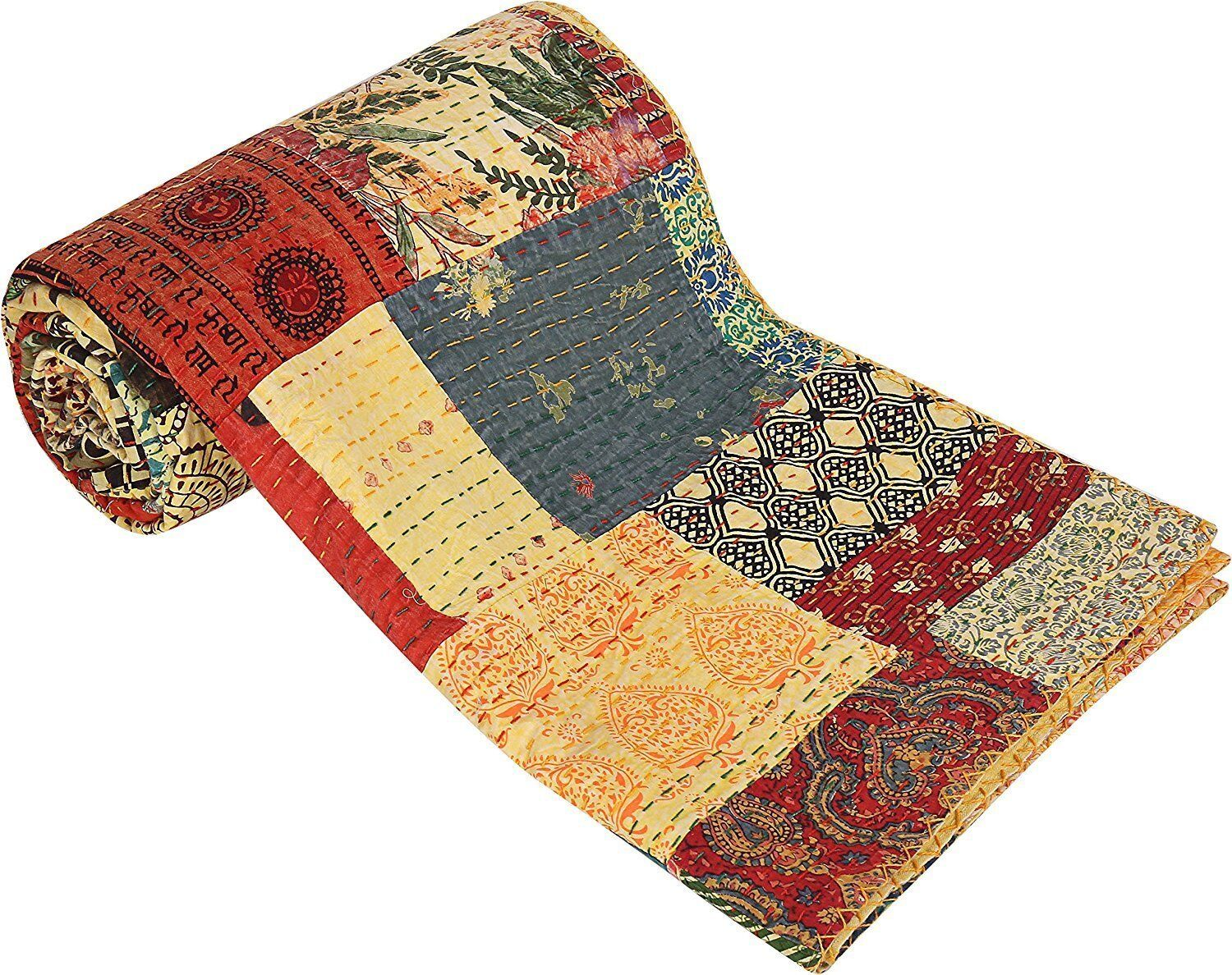 Cotton Bedcover Kantha Quilt Patchwork Cotton Indian Bedspread HThrow Baby Quilt