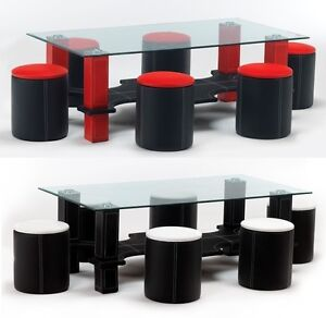 Luxor-Faux-Leather-Chrome-Glass-Coffee-Table-With-6-Matching-Faux-Leather-Stools