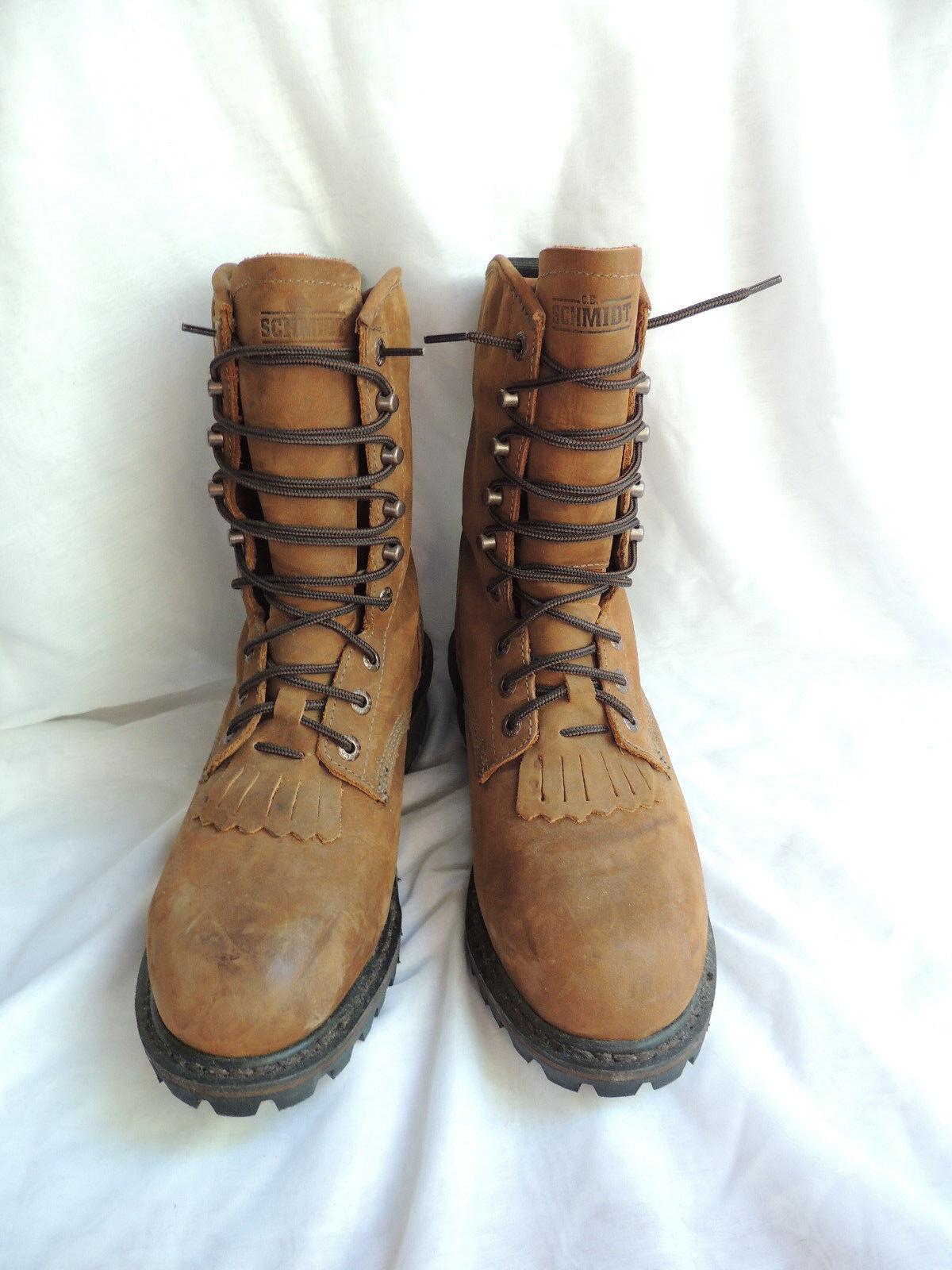 Men's Schmidt  Brown Leather Oil Resistant Workwear Boots Size 9M