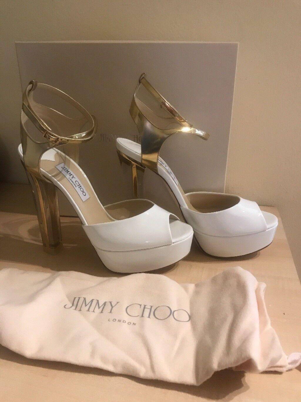 Sandalo Jimmy alto, Choo, colore bianco, tacco tacco bianco, alto, numero 42   2b8b4d