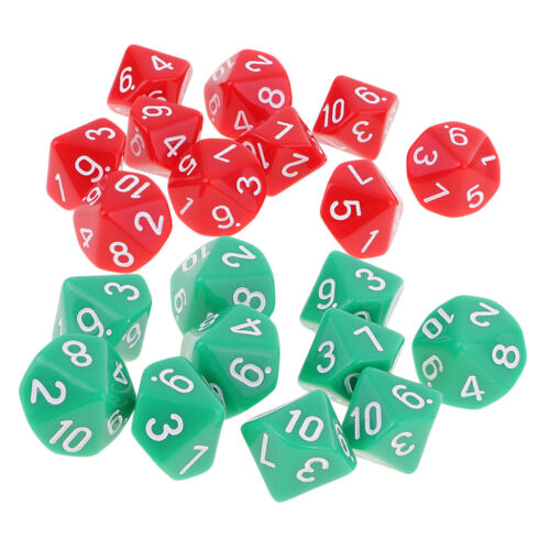 20pcs Acrylic 10 Sided Dices Red+Green Die for Dungeons and Dragons Games