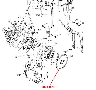 bombardier engine diagram bombardier brp ds 650 new starter clutch ruota libera one way 2000  brp ds 650 new starter clutch