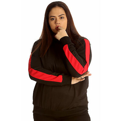 New Womens Plus Size Jacket Ladies Hooded Side Stripe Cuffed Soft Quality Track