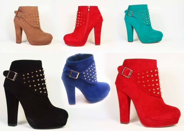 Women's Zipper Fashion Chunky High Heel Platform Studded Ankle Bootie Shoes NEW