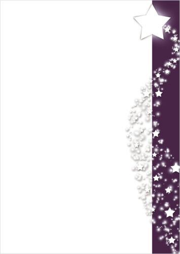 Motivpapier Briefpapier Weihnachten  weiße Sterne im lila Banner 100 Blatt A4