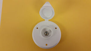 RV exterior WHITE CABLE TV receptacle round camper motorhome pop-up trailer