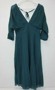 ASOS-Women-039-s-DESIGN-Pleated-Midi-Batwing-Dress-US-6-Green-NWT