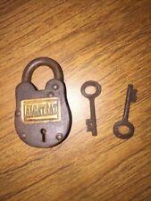 Padlock Key Set Brass Lock Wild West 1900s Alcatraz Prison g/vg