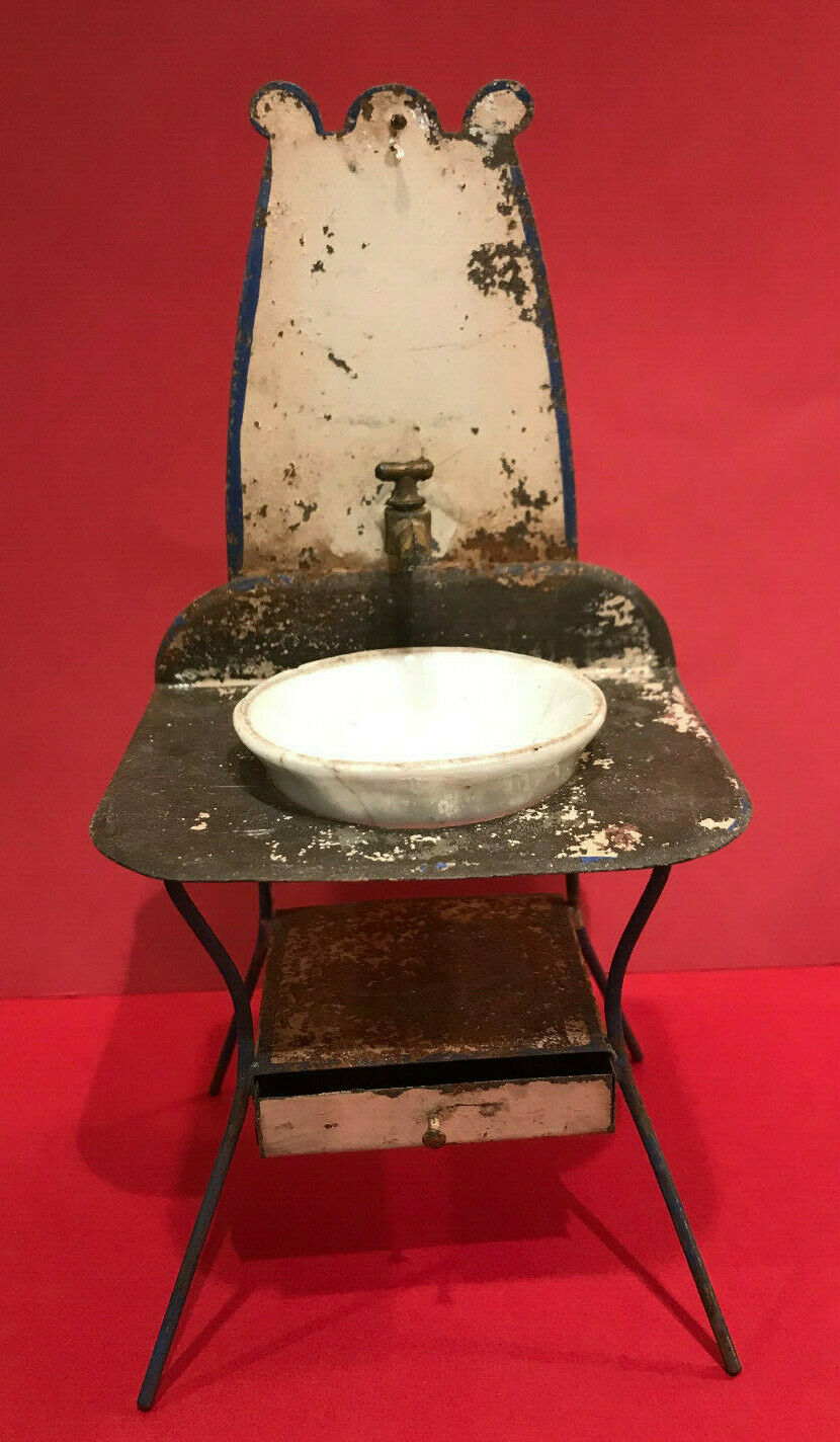 Antique Dollhouse Wash Stand Tin Porcelain Bathroom Sink w  Basin Rare 1890s