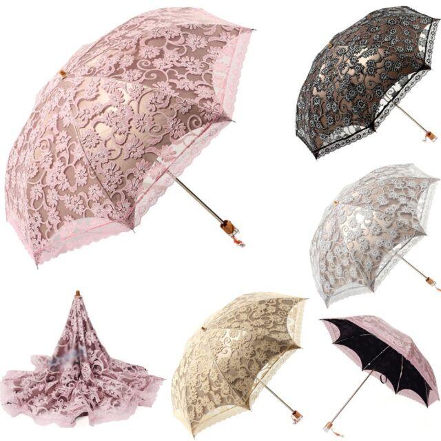 Women's Lady Fashion Parasol Black Lace UV Korea clear/rain Folding Umbrella