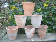 "6 Old Vintage Hand Thrown Terracotta Plant Pots 3.25"" Diameter Auricula Pots 12"