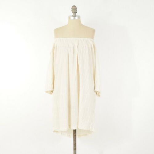 French Connection Dress L Off-White Cotton Gauze O