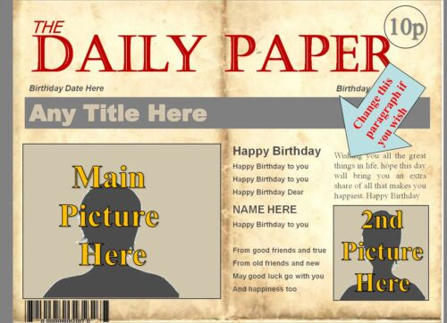 A4 Personalised Newspaper Headlines Birthday Cake Edible Icing//Rice Paper Topper