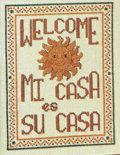 Sunny Welcome Mi Casa es Su Casa Cross Stitch Pattern Chart from a magazine
