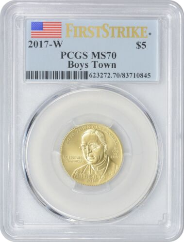 2017-W $5 Gold Boys Town Commemorative MS70 PCGS First Strike Mint State 70
