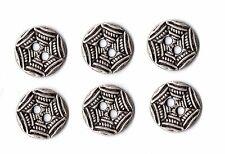 6x Vintage Silver Metal Spiderweb Buttons ~ 15mm ~ Spider Halloween Gothic