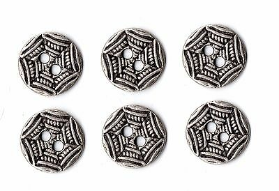 ** 6x Vintage Floral Pattern Round Buttons ~ 10mm **