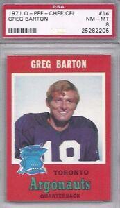1971-OPC-football-card-14-Greg-Barton-Toronto-Argonauts-PSA-8-CFL-Canadian
