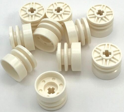Lego 10 New White Wheel 18mm D x 14mm with Axle Hole Fake Bolts Pieces
