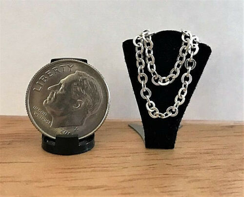 Double Chain Silver Metal Dollhouse Miniature Jewelry 1:12 or Larger