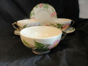 Franciscan-Desert-Rose-Lot-3-cups-2-saucers-1-B-amp-B-plate