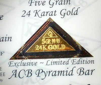 5 Pack of ACB GOLD PYRAMID 5GRAIN 24K SOLID BULLION MINTED BAR 99.99 FINE COA !