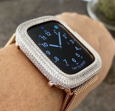 Bling Apple Watch Series 4 5 6 Se Bezel Face Baguette Zirconia Rose Gold 40mm Ebay