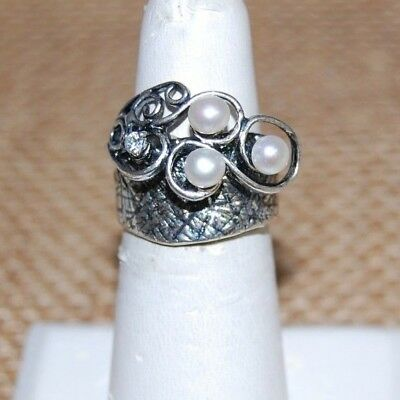 Or Paz 925 Sterling Silver Cultured Pearl Ring Size 7 Fine Rings Made In Israel And Digestion Helping