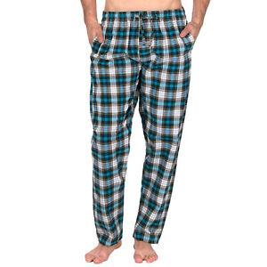 Mens Lounge Pants Pyjama Cotton Bottoms Check Stripe Nightwear Pockets Trousers