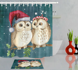 Christmas Owl Branch Shower Curtain Set