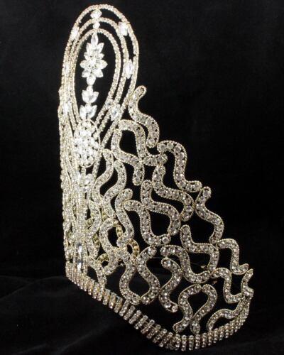 Tiara corona de reina de belleza enorme cristal austriaco Rhinestone concurso Dorado T 1415 oro