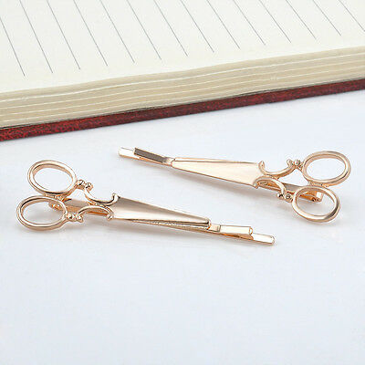 2PCS Fashion Women Chic Scissors Shape Hair Clip Gold/Silver Hair Pin Accessory
