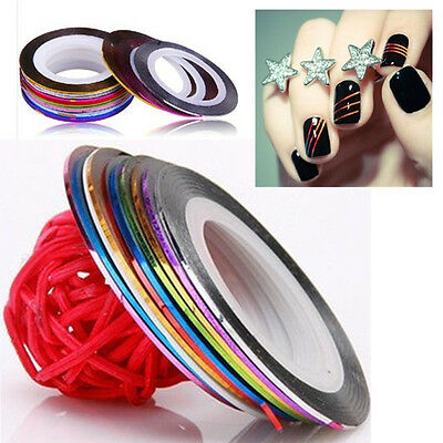Filament Stickers Ongle Fil Striping Bandes Tape Tips Déco Autocollant Nail Art