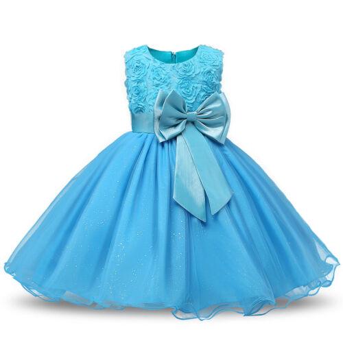 Girl Bridesmaid Dress Baby Flower Kids Party Rose Bow Wedding Dresses Princess