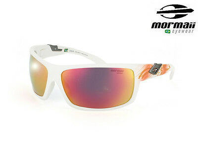 NIB MORMAII Model Joaca Sports Hand Painted 100% UV400 Sunglasses White / Orange
