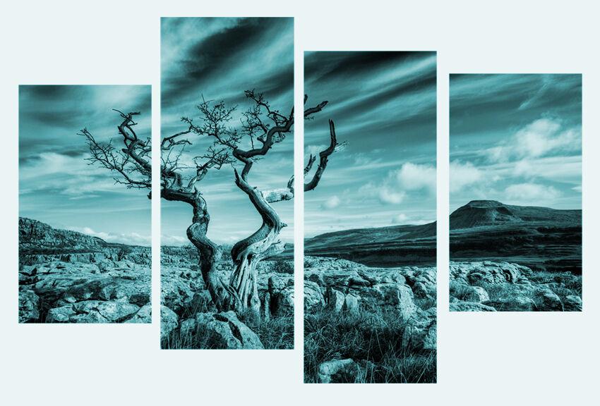 LARGE TEAL NATURE LANDSCAPE CANVAS WALL ART PICTURE PICTURE PICTURE SPLIT 4 PANELS 40  X 28  9c44dc