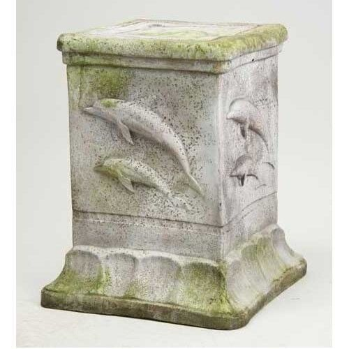 Dolphin Pedestal For Garden Urn Statue Made of Fiberstone Pot Orlandi FS8548