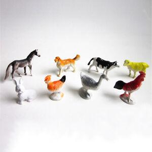 8xBauernhof-Tiere-Models-Figuren-Set-Spielzeug-Kunststoff-Simulation-Pferd-Hun0U