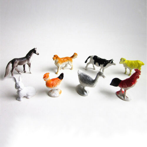 8x Farm Animals Models Figure Set Toy Plastic Simulation Horse Dog Kid Gift BSES