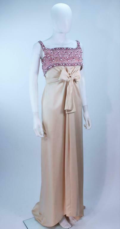 GIVENCHY COUTURE Circa 1960s Nude Gown w/ Beaded … - image 4