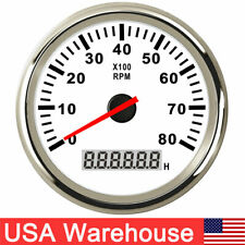 85mm Boat Tachometer With Lcd Hourmeter 0 8000rpm For Diesel Gasoline Engine Us