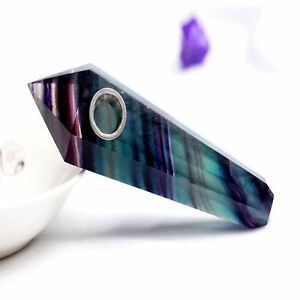 100-Natural-Purple-Green-Fluorite-Quartz-Crystal-Wand-Pipe-w-Carb-Hole