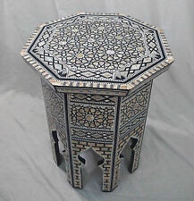W93 Mother Of Pearl Octagonal corner Wood Table Arabesque End Coffee Trinket